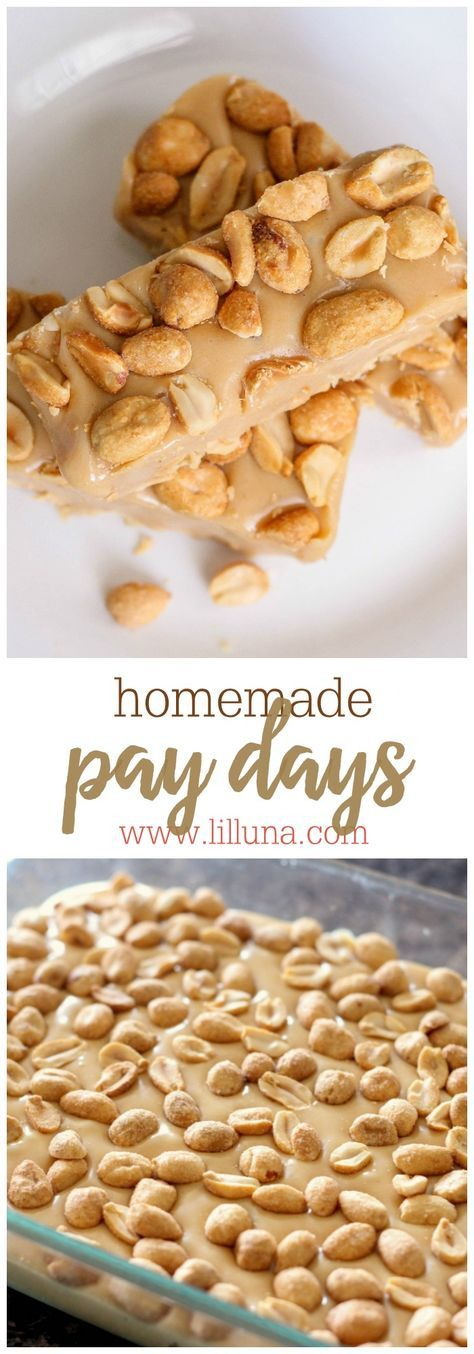 Homemade Pay Days - so easy to make and they taste just like it! { http://lilluna.com } Recipe includes peanuts, peanut butter chips, mini marshmallows and sweetened condensed milk.