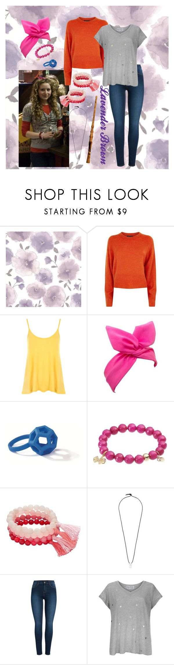 """Lavender Brown"" by volitairia ❤ liked on Polyvore featuring Graham & Brown, Lavender Brown, WearAll, Lulu in the Sky, TFS Jewelry, Loli Bijoux, Fred, Pieces and Wildfox"