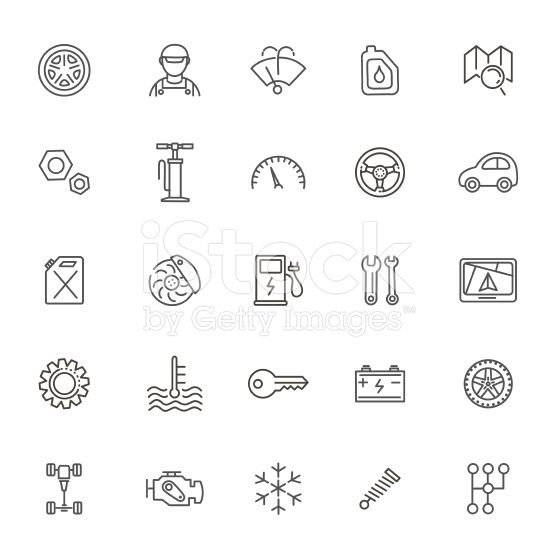Outline icons. Car parts and services royalty-free stock vector art