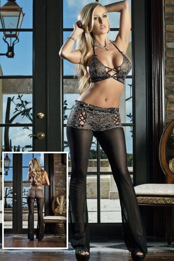 Sexy Damen Dessous, Negligee, Reizwäsche Set mit Hose + BH + G-String