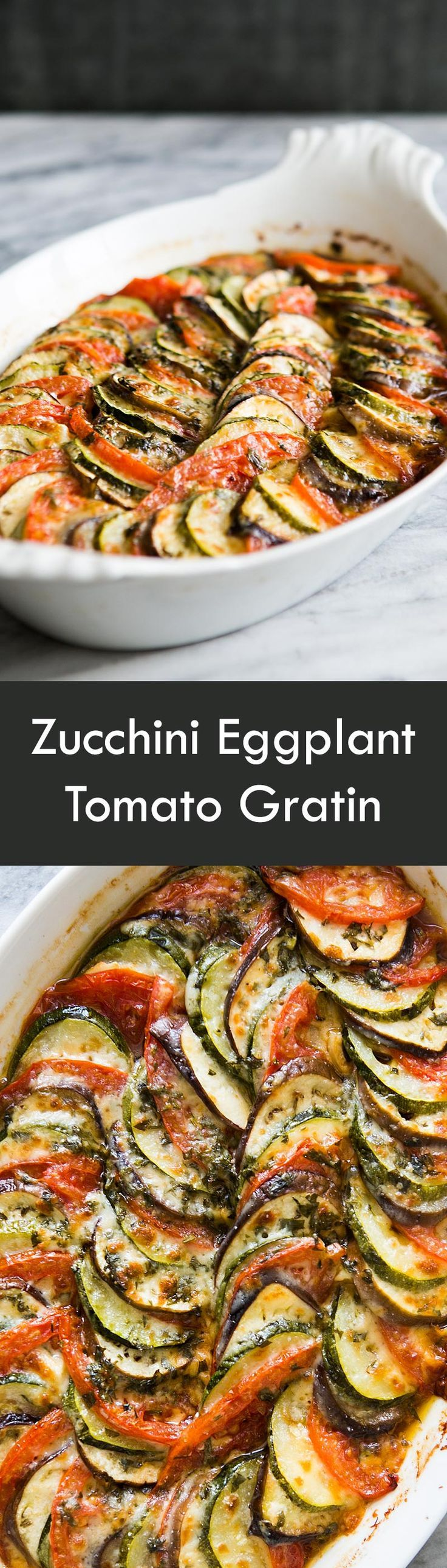 Summer zucchini, eggplant, and tomatoes, beautifully presented in a baked casserole gratin! On http://SimplyRecipes.com