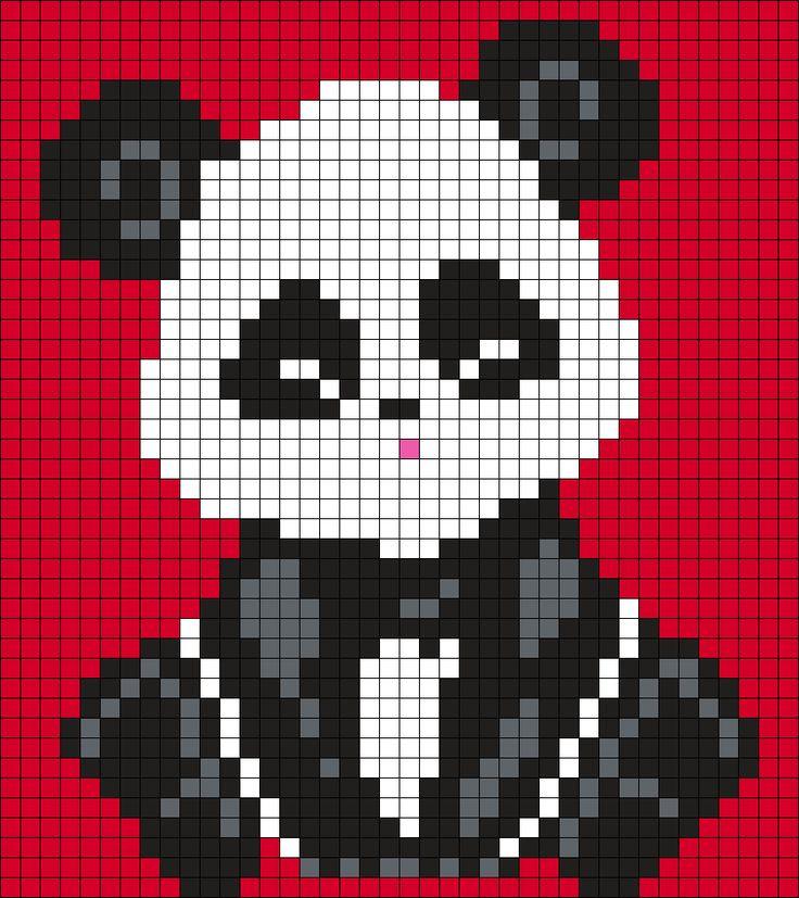 Little Panda (40 X 25) Perler Bead Pattern by Melissa Pious