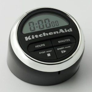 KitchenAid Cook's Series Digital Timer, Black by KitchenAid. $14.95. Various colors available to match kitchen decor. Long lasting Alkaline battery included. Timer duration: 9 hours, 59 minutes and 59 seconds. Large, easy to read LCD display. This innovative design combines the ease of setting a traditional timer with the accuracy of a digital timer. Simply turn the metal setting wheel to set the desired duration to be timed. The large, easy-to-read LCD readout displays the ...