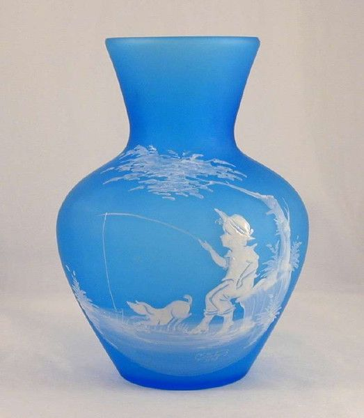 1971 Mary Gregory Style Westmorland Glass Painted Frosted Blue Vase Artist Signed C. Steeley