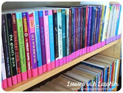 so excited about this weekend project! Lessons with Laughter: Color-Coded Classroom Library Organization