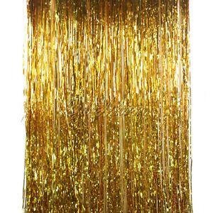 1m Silver Gold Foil Fringe Curtain Tinsel Door Window