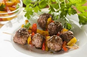 Easy emu meatballs with a red wine dipping sauce
