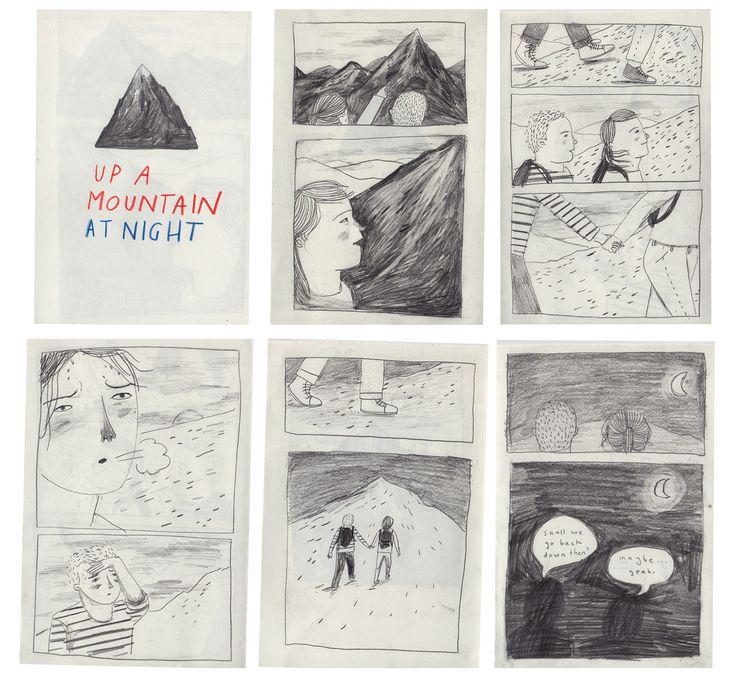 up a mountain at night by Lizzy Stewart. This zine is an example of graphic sequence through the different frames presented. The scene is displayed followed by a close up shot of the protagonist. This sets up the context for the zine and also suggests a sense of time
