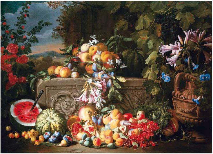 "Abraham Brueghel's ""Still Life of Fruit and Flowers"" (c. 1660)"
