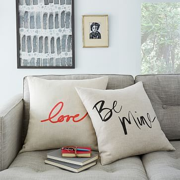 Valentine's Pillow Covers #westelm | Master bed