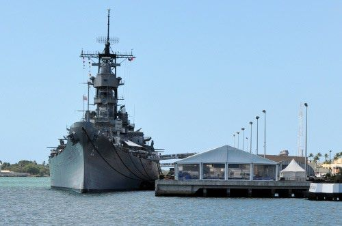 Battleship USS Missouri as seen from the USS Arizona Memorial