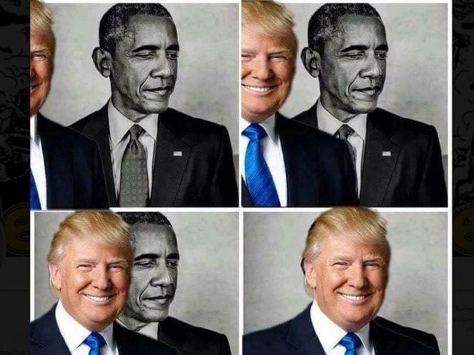 El presidente de Estados Unidos retuiteó un meme con una imagen de sí mismo bloqueando paulatinamente una foto de su predecesor en la Casa Blanca