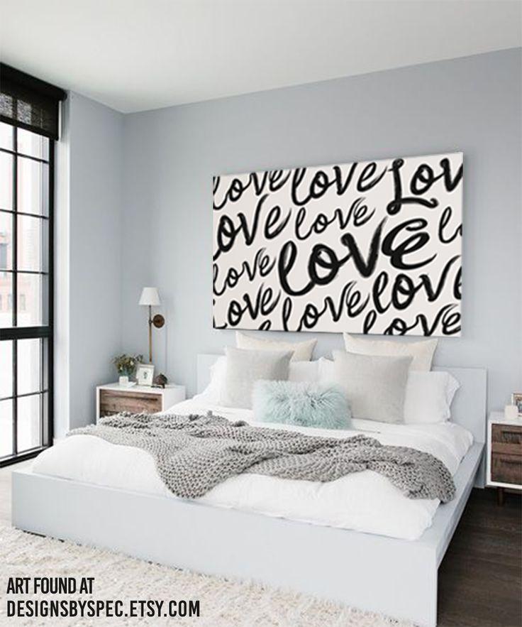 Love Art Script Handwritten Watercolor - Large Bedroom Headboard Art