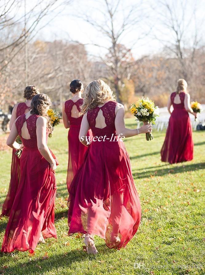 Country Wedding Burgundy Long Bridesmaid Dresses Open Back