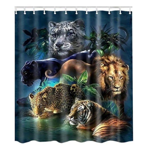 Tiger In Shadows Shower Curtain Tiger Shower Curtain Vinyl