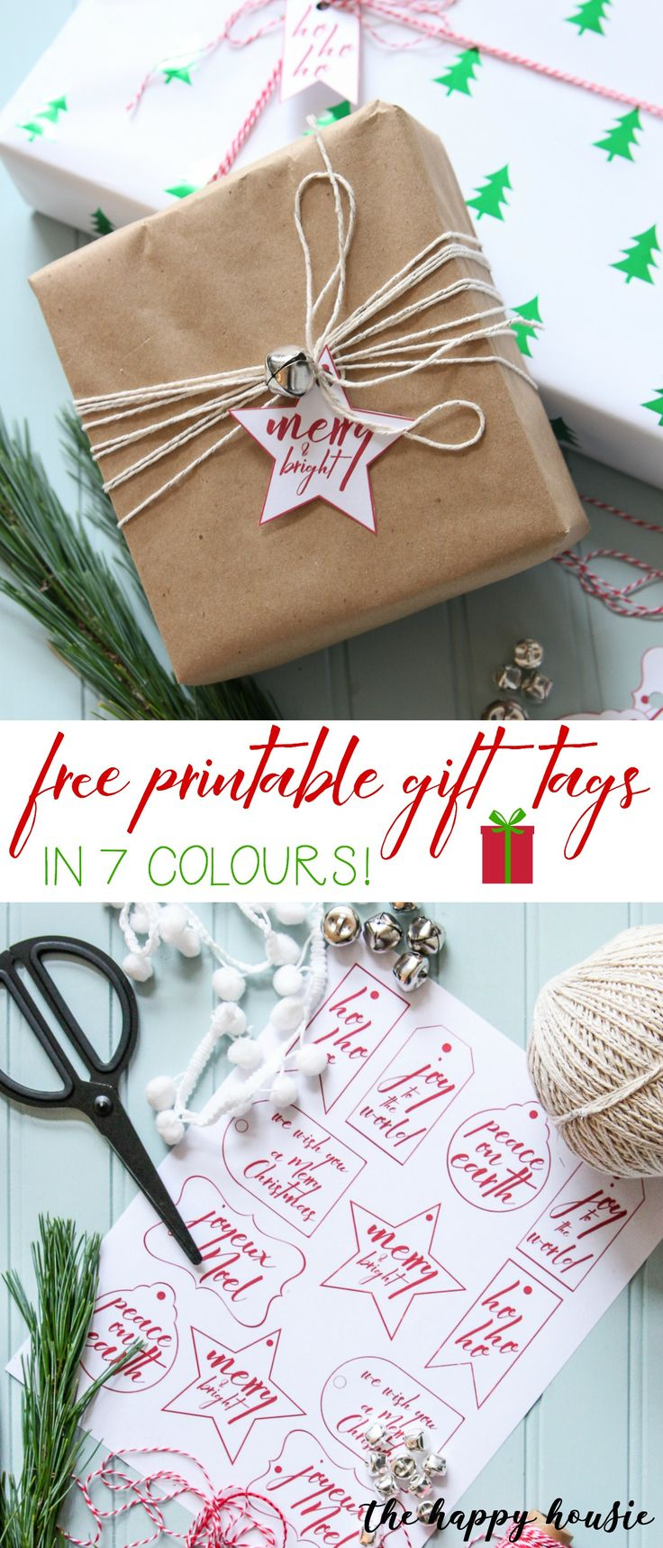 Jingle Bell Gift Wrapping with Free Printable Christmas Gift Labels | The Happy Housie #giftwrap #christmasdecoration