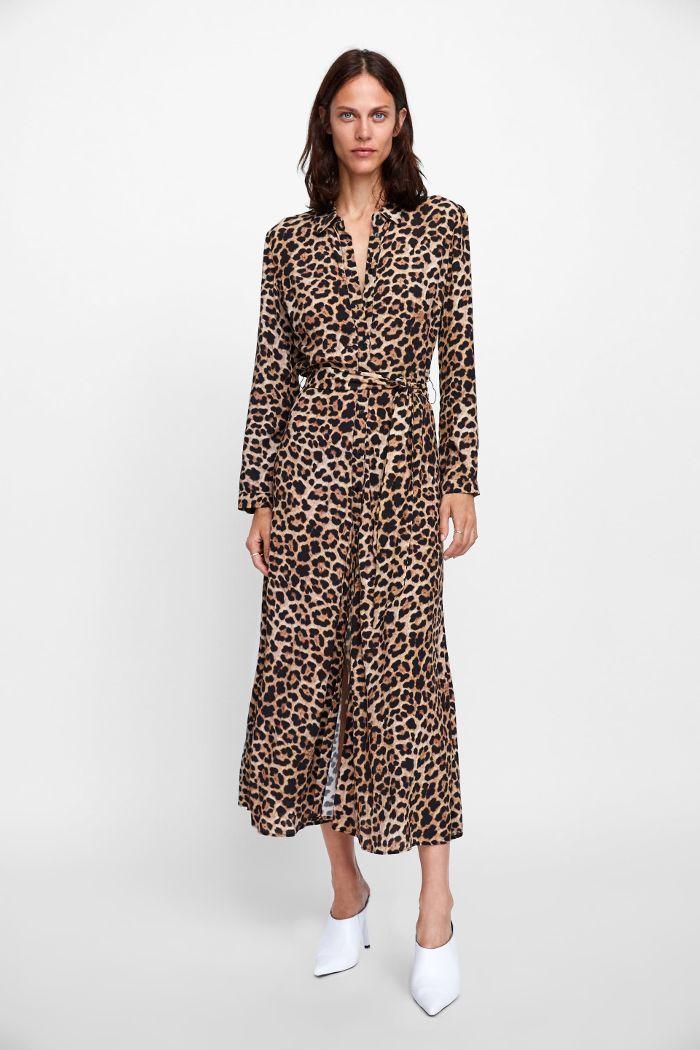 Zara Long Animal Print Dress Long Sleeve Print Dress Dress Shirt Sleeves Leopard Print Dress
