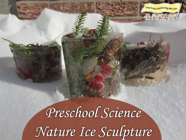 Let children fill a big container with nature items, add water and freeze. Creates beautiful nature ice sculptures