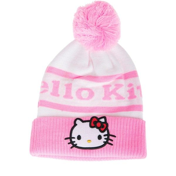 Hello Kitty Beanie (235 SAR) ❤ liked on Polyvore featuring accessories, hats, pink, hello kitty beanie hat, beanie cap hat, pink beanie hat, pink beanie and beanie caps