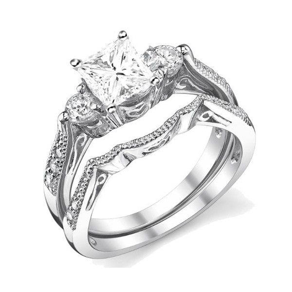 Popular Antique Wedding Ring Set yes please Princess Cut DiamondsPrincess