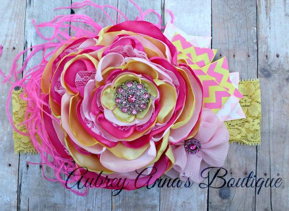 Pink Lemonade, Summer, Pink and Yellow, OTT, Couture, Singed Satin Flower, Satin Flower Headband, Photo Prop, Photography