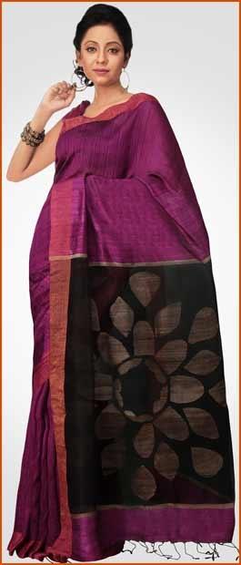 Magenta and Black Matka Silk Saree With Blouse