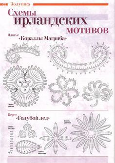 Many patterns and pictures of irish lace and techniques. Russian.