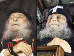 One of the most beloved contemporary Elders of the Holy Mountain, Elder Joseph of Vatopaidi fell asleep in the Lord on his birthday, July 1st 2009, the feast of the Holy Unmercanaries. At his death, a miracle occurred shortly after his demise which left a sign of hope for all of us who await 'the resurrection of the dead and the life of the world to come'. After more than 45 minutes had passed from the time of death, he smiled. Elder Joseph's mouth had remained open for a long time ...