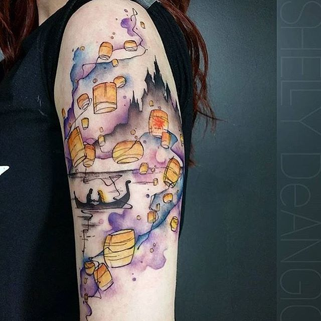 Water colored Tangled piece done by @shell_shock_tattoos ✨ #inkeddisney