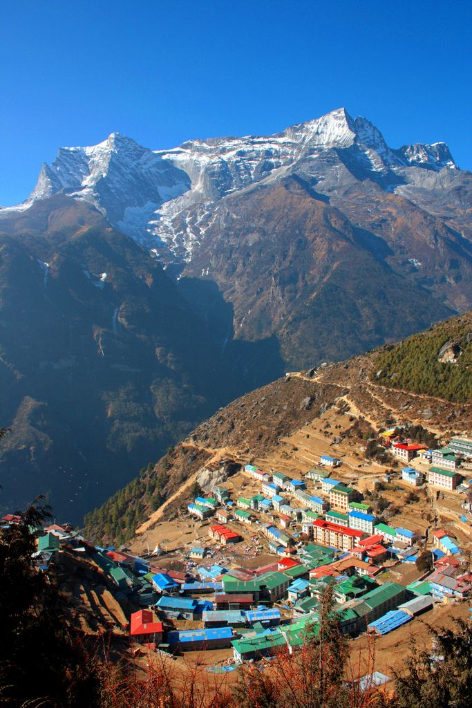 Looking down on to the village from the highest airport in the world - Namche Bazaar, Solukhumbu, Sagarmatha, Nepal