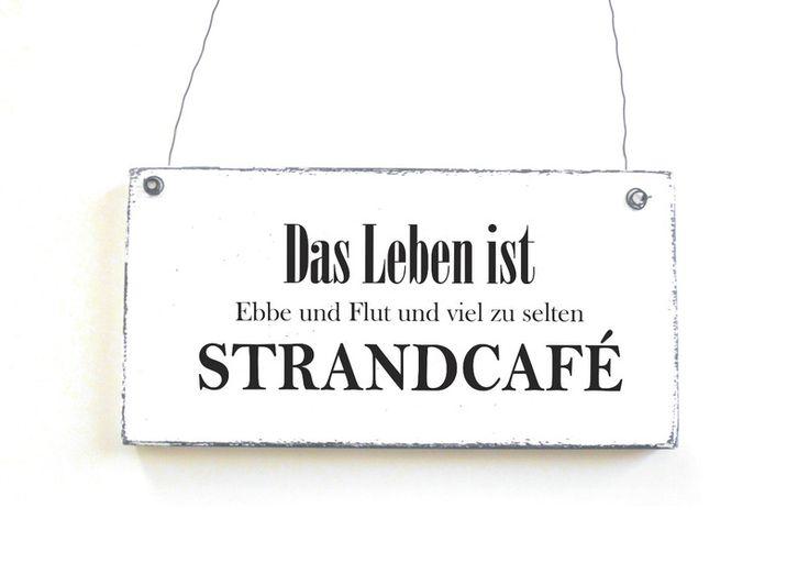 Schild STRANDCAFE Dekoschild Vintage Shabby chic von DöRPKIND auf www.doerpkind.de