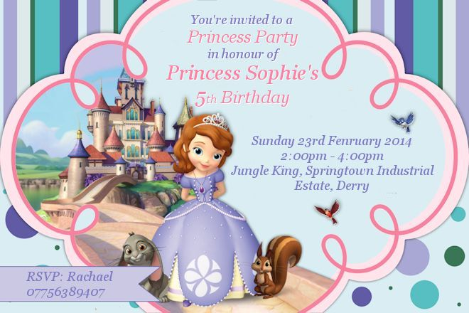 Sophie's 5th Birthday invite
