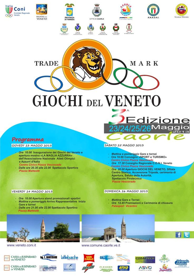 La locandina della terza edizione dei Giochi del Veneto - Caorle 2013