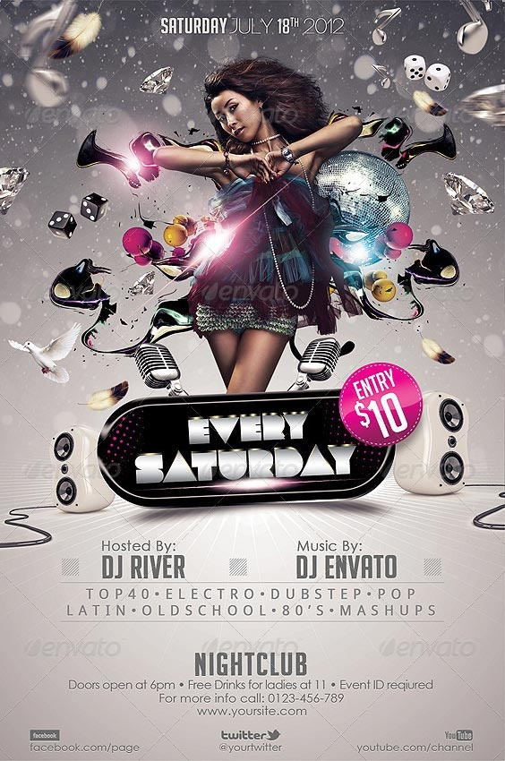 Every Saturday Club Flyer Template http://clubpartyflyer.com/every-saturday-club-flyer-template/