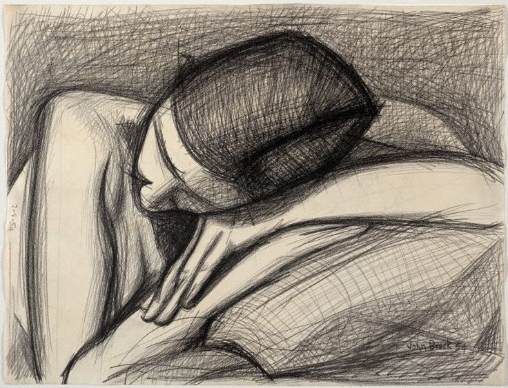 John Brack / Head and Arms (Barbara Blackman) / 1954 / black conté on ivory wove paper