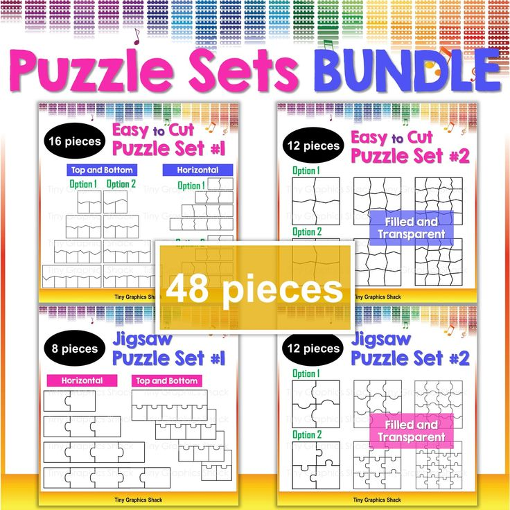 This set includes 48 blank puzzle templates for educators who love to create fun puzzles, games, and activities for their students/children. There are simple zigzag line and jigsaw designs. You can create educational resources with these crisp high quality images.
