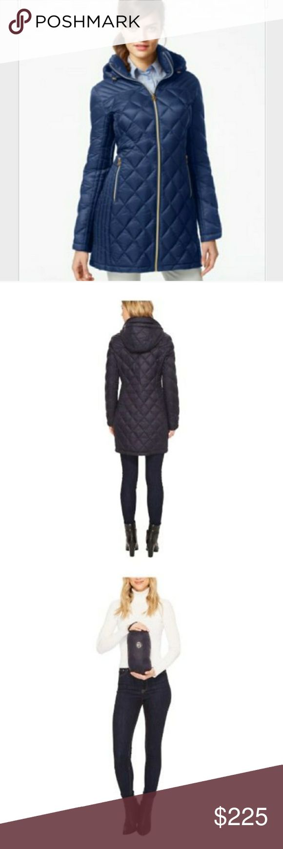 Michael Kors Packable Down Puffer Coat - Dark Blue New with tags.  Dark blue light weight down-filled quilted coat with detachable hood. Fully lined, zipper closure, 2 pockets with zippers, machine wash. Made from down & nylon for durability & easy care. Packs down for space-saving storage. Michael Kors Jackets & Coats Puffers