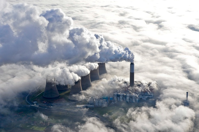 An aerial photograph of the Cottam Power Station in Retford, Nottinghamshire in low-lying fog