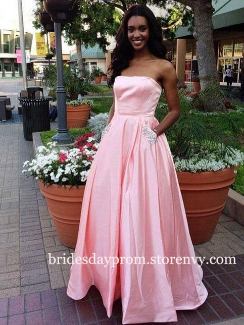 Sexy Prom Dress,Pink Beaded Prom Dresses,Long Party Dress,Evening Dress with Pockets