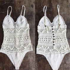 Cotton crochet one piece with adjustable shoulder straps and cute coconut button trim S/m to fit an 8/10 M/l to fit a 10/12Unlined Non elasticised