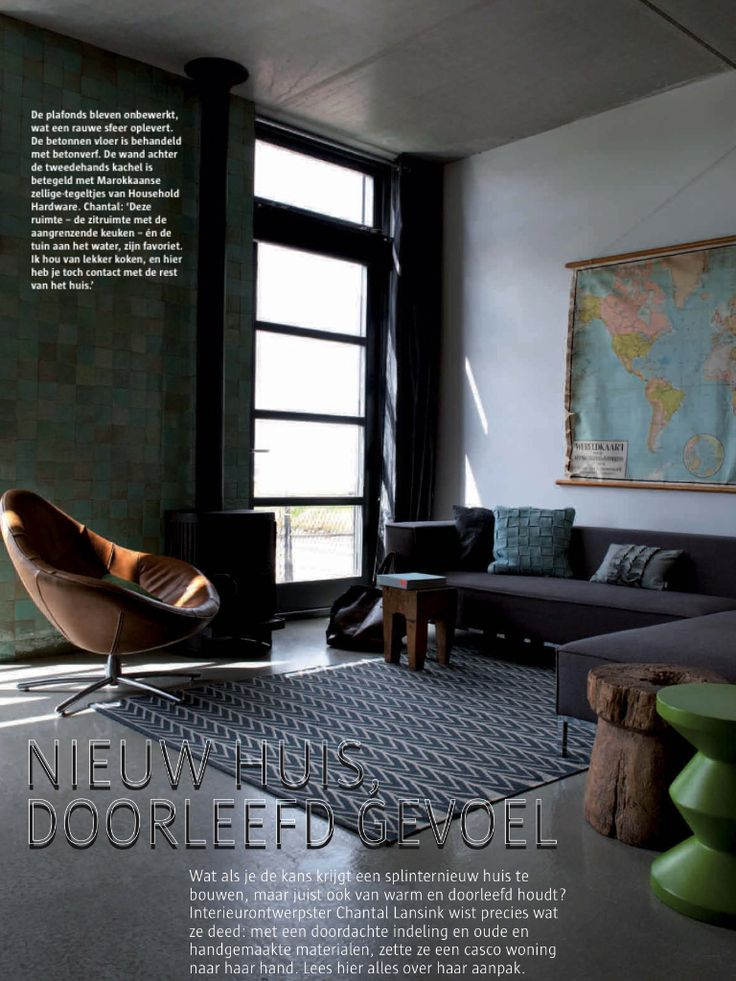 Nice green tile wall and Swivelchair Hidde by Gerard van den Berg for his own LABEL