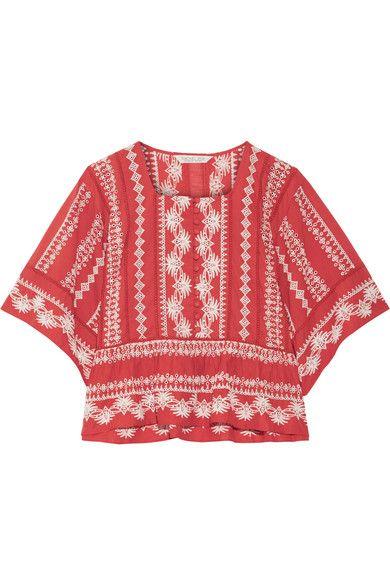 Rachel Zoe - Heidi Embroidered Cotton-gauze Blouse - Coral - x small