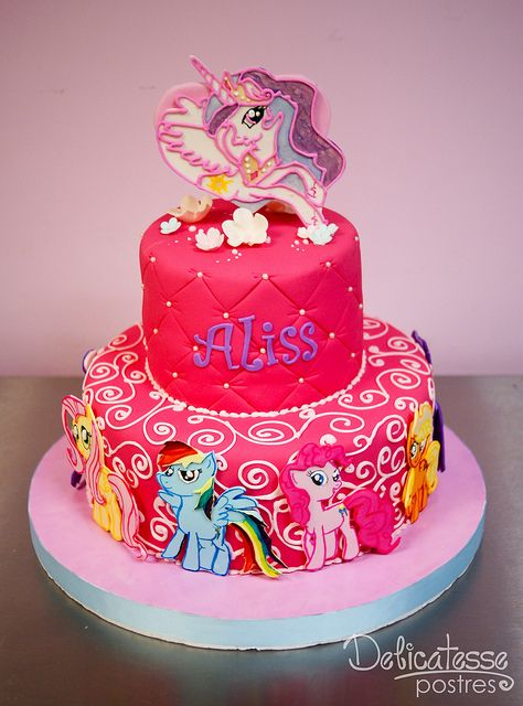 My Little Pony Cake........if in dark blues, purple, silver, a bit of yellow and orange with Princess Luna on top of the cake.....this would be perfect for Brody!