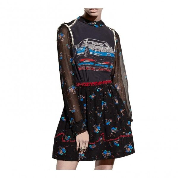 --evaChic--This Coach 1941 Car Patchwork Print Floral Dress from Resort 2017 references a strong symbol of the American dream, the coupé car which is impressively screen-printed on its bodice. Crafted from sheer and ethereal silk and accented with dark florals, it works as an all-occasion stunner. Rock it on a weekend stroll or a cocktail party!                http://www.evachic.com/product/coach-1941-car-patchwork-print-floral-dress/