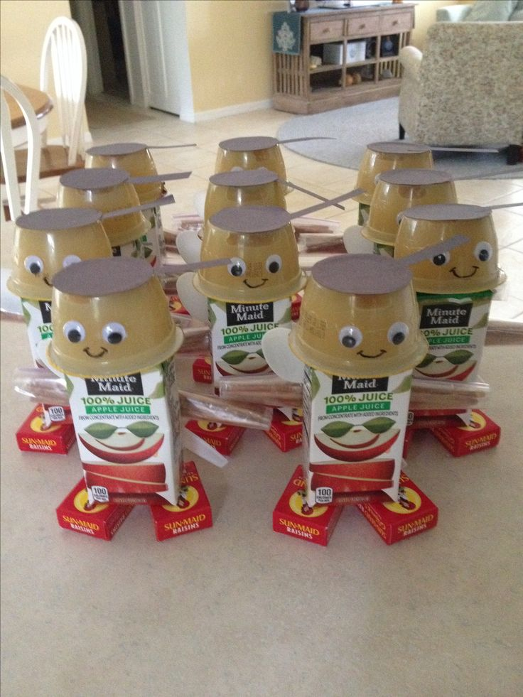 Johnny Applesnacks for Johnny Appleseed week. I saw the apple robot on here, but made it my own. Easy to make. My kids loved these!