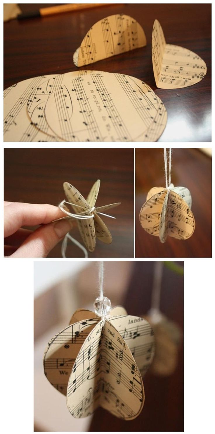 Christmas music ornaments - Vintage Music Sheet Christmas Ornament Create A 2 2 Inch Circle You Will Need Six Paper