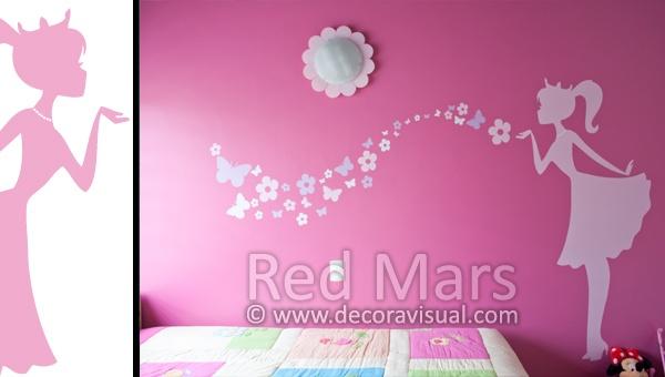 Princesa soplando flores y mariposas for Mural de flores y mariposas