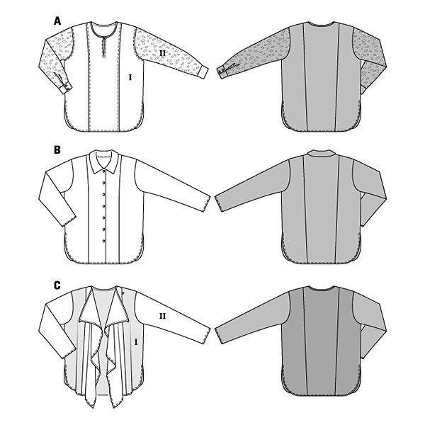 Giacca / Blusa, Burda 6787 - Cartamodelli Burda per cappotto, giacca e gilet- tessuti.com