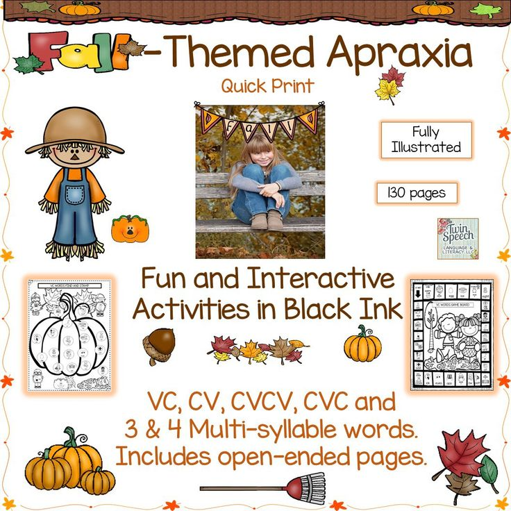 Twin Speech: Fall-Themed Apraxia Document Targeting VC, CV, CVCV, CVC, 3-4 Syllable Words. Pinned by SOS Inc. Resources. Follow all our boards at pinterest.com/sostherapy/ for therapy resources.
