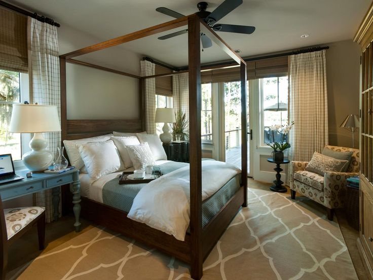 With a soft palette of neutrals that includes splashes of cool tidal blue, the 2013 HGTV Dream Home master bedroom draws inspiration from Kiawah Island's sandy beaches. A canopy bed with Parson-style posters serves as a stunning focal point while a private deck provides picturesque views of the island's tidal marsh.